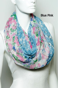 Fashion Trend Flower Infinity Scarf Pre-Pack 6 pcs Even Color