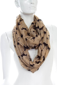 Horse Print Infinity Scarf Pre-Pack 6 pcs Even Color