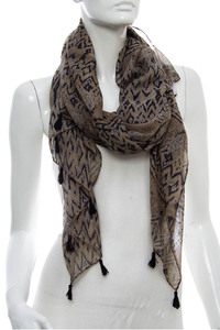 AZTEC Print Accented Scarf Pre-Pack 6 pcs Even Color