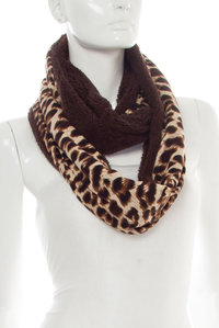 Leopard Print With Faux Fur Infinity Scarf