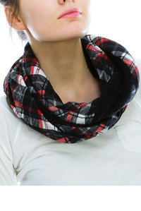 Mixed Plaid Print with faux Fur Infinity Scarf