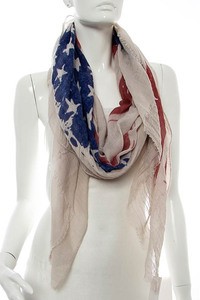 US Flag Print Accented Scarf Pre-Pack 6 pcs Even Color