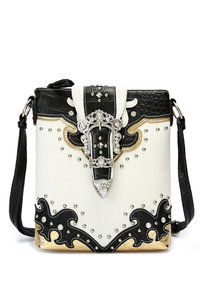Western Cowgirl Belt Buckle Rhinestones Design Cross Body Messenger Bag