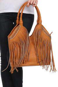 Over shoulder bag with leatherette fringe and open top Jewel embellishments
