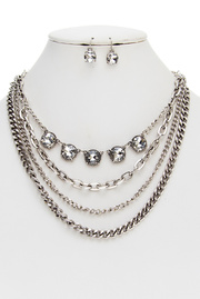 Four Layered Metal With Glass Stones Necklace and Earring Set