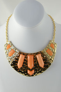 Egyptian Style Stones Deco Necklace and  Earring Set Pre-pack 3 Pcs