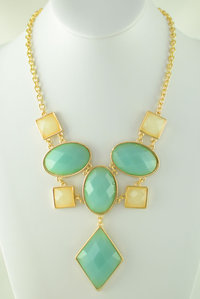Restocked Geometric Stones Deco Necklace and Earring Set