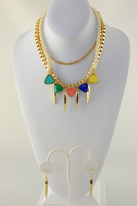 Spike with Stone Neckless and Earring Set
