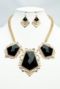 Opal Big 3 Stones Statement Necklace Set