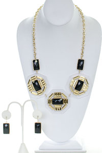 Opal 3 Clear Acrylic Boarded Geometric Epoxy Stones Layered Statement Necklace and Earring Set