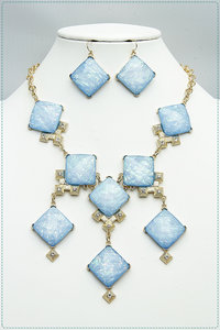 Opal Multi Diamond Shape Necklace And Earring Set