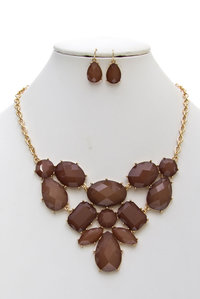 Multi Epoxy & Clear Stones Bib Statement Necklace Set