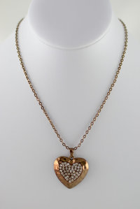 Stone Heart Short Deco Necklace and Earring Set