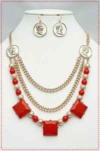 Epoxy Stones W Coins Metal Necklace and Earring Set