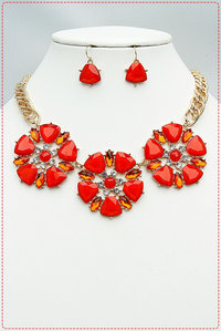 Three Flower Rhinestoned Statement Necklace And Earring Set