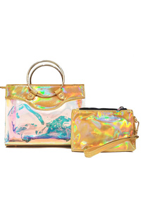 Two In One Hologram Satchel Bag With Metal Handle Bag
