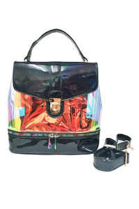 Two In One Hologram Backpack Style Bag With Single Handle