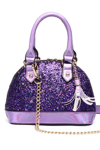 Glitter Double Handles Satchel Bag With Shoulder Strap