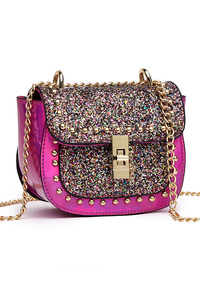 Glitter Flap Over Turn Lock Messenger Bag With Chain Strap
