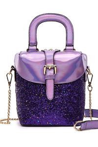 Glitter Flap Over Bucket Single Handle With Chain Strap