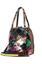 Multi leather Patchworks Accented Mini Tote Bag With Strap