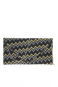 Yarn Dye Lace Accented Clutch With Strap