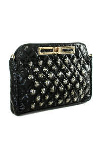 Premium Shinny PU Big Stones Deco with Chain Strap Evening Clutch Bag