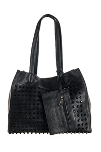 High End Front Covered Color Studs Accented Bucket Bag With Detachable Pocket