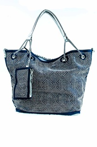 Studs And Weaved All Over Two In One Tote Bag With Chain Handle