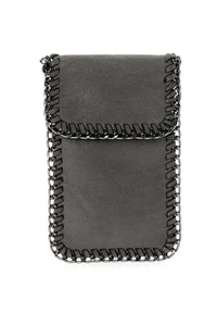 Solid Chain Edged Flap Over Crossbody Mobile Phone Case