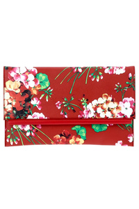 Flower Pattern Print Flapover Flat Clutch With Chain Strap