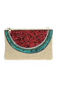 Watermelon Straw Sequins Clutch With Chain Strap
