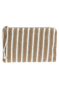 Straw Stripe Zipper Pull Clutch