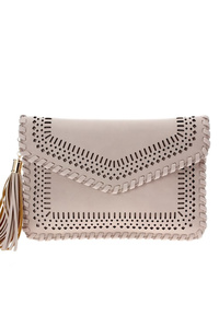 Solid Laser Cut And Web Stitched With Tassel Envelope Clutch With Strap