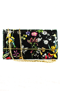 Flower Print Flap Over Clutch With Chain Strap