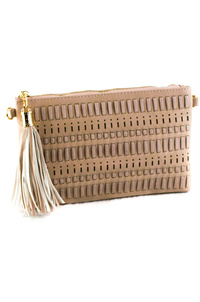 Solid Laser Cut And Stitched With Tassel Clutch With Strap