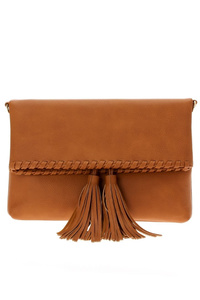 Tassels Foldable Stitched Clutch With Strap