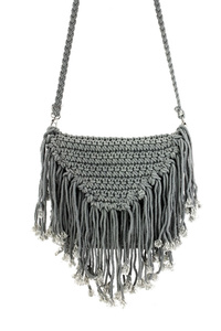 Solid Crochet Flap Over Messenger With Fringe