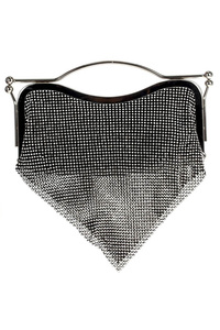 Rhinestone Mesh Evening Bag With Metal Handle