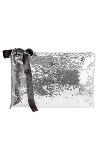 Solid With Velvet Tie Sequins Clutch With Chain Strap