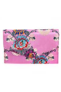 Flower Satin Chinoiserie Flap Over Clutch With Chain Strap