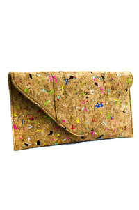 Cork Material Flap Over Envelope Style Clutch With Strap