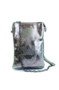 Restocked Metallic Skull Chain Strap Messenger With Chain Strap