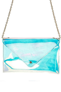Envelope Clear Hologram Clutch With Chain Strap