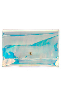 Flap-over Clear hologram clutch With Chain Strap