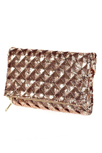 Solid Metallic Twisted Weaved Flap Over Clutch With Strap