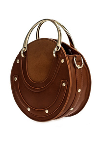 Solid Metal Handles And Studs Round Bag With Strap