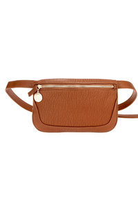 Solid Washed PU Front Zip Belt Bag