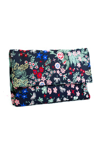 Flower Printed Flap Over Clutch With Chain Strap