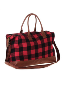 Plaid With Trim Faux Leather Duffle Bag With Shoulder Strap